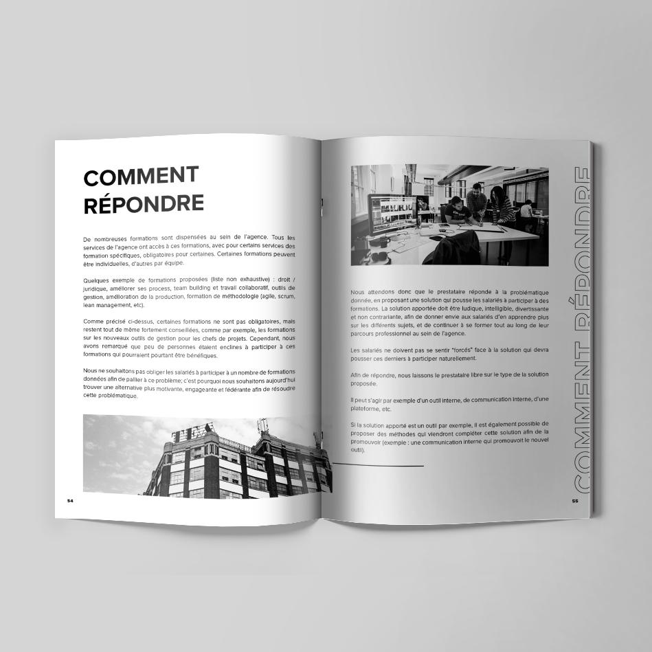 Projet de la mise en page d'un magasine et d'une brochure pour un appel d'offre réalisé pour une agence digital spécialisé dans le design de site internet et la Communication Digitale