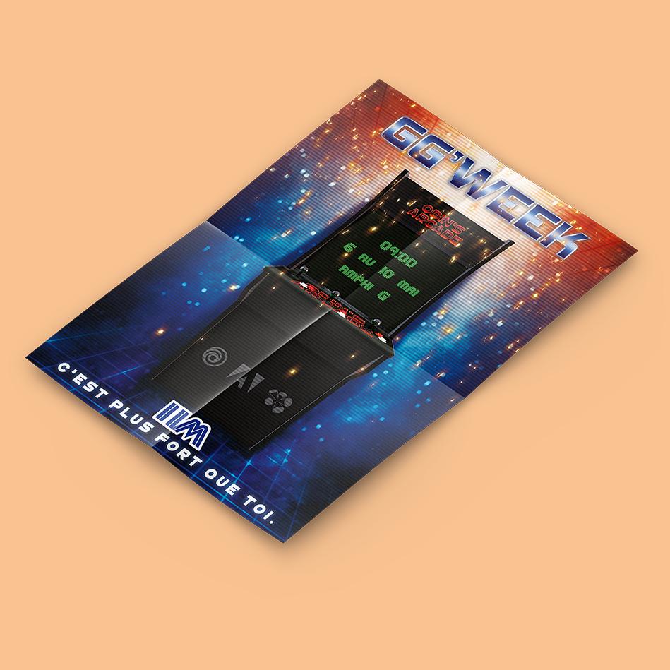 Affiche basé sur du retrowave et des codes graphiques des années 90 pour un événement pédagogique entre l'IIM (Digital School Paris), Ubisoft, Adobe et Wacom