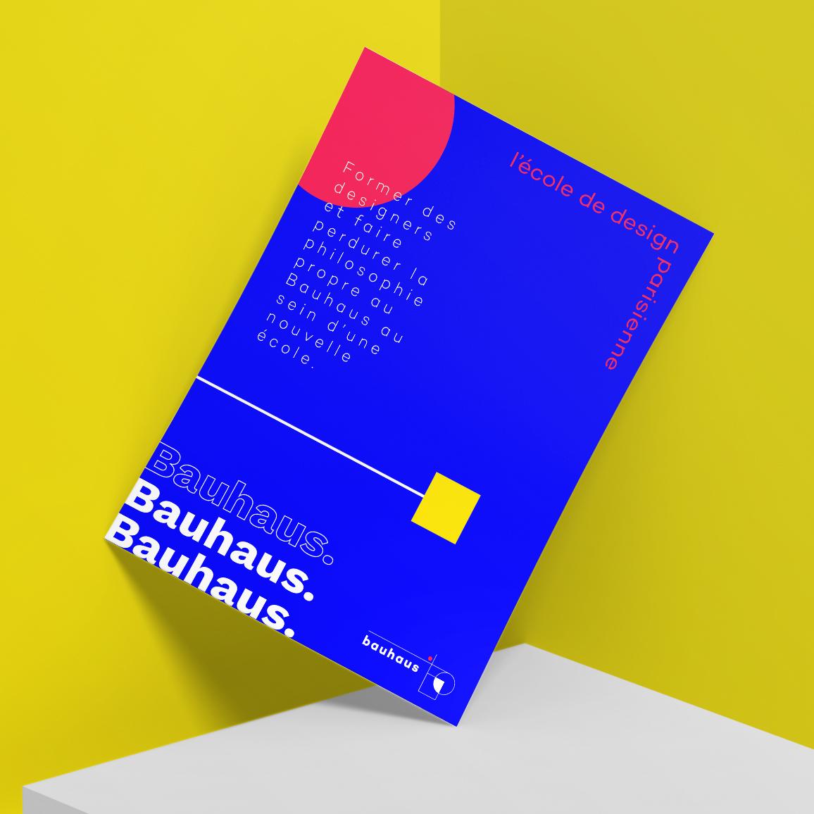 Affiche de design pour la réouverture et le centenaire du Bauhaus, école spécialisé dans le design industriel et l'architecture.