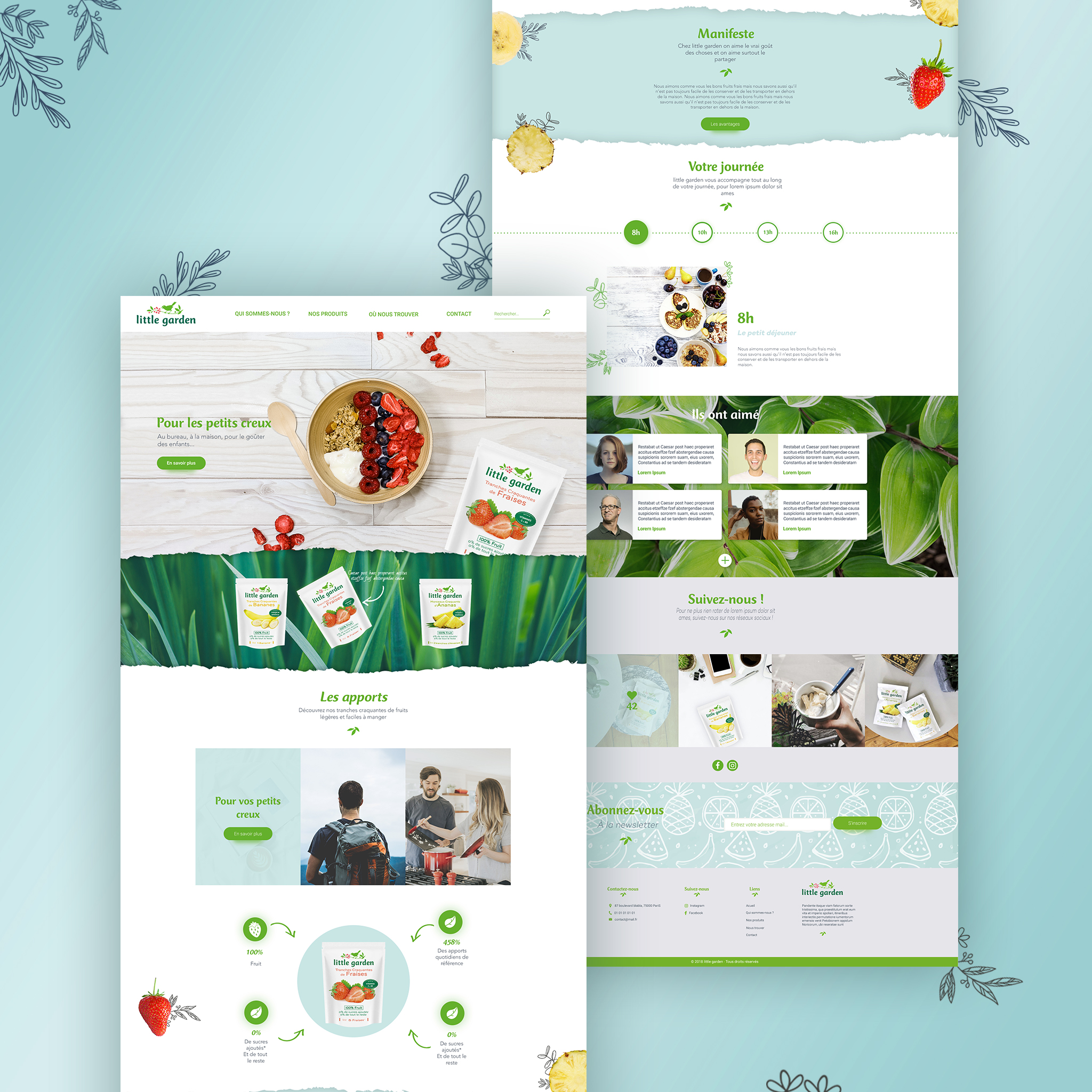 Visuels de la maquette de la page d'accueil du site internet «little garden», service de vente en ligne de tranches de fruit pour une alimentation saine.