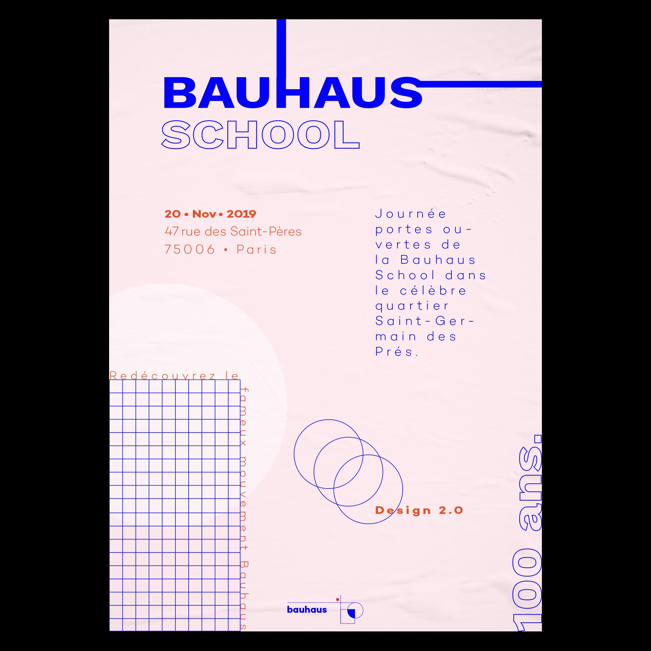 Affiche graphique, avec une direction artistique vintage, pour la réouverture et le centenaire du Bauhaus, école de design allemande créer en 1919 par l'architecte Walter Gropius.