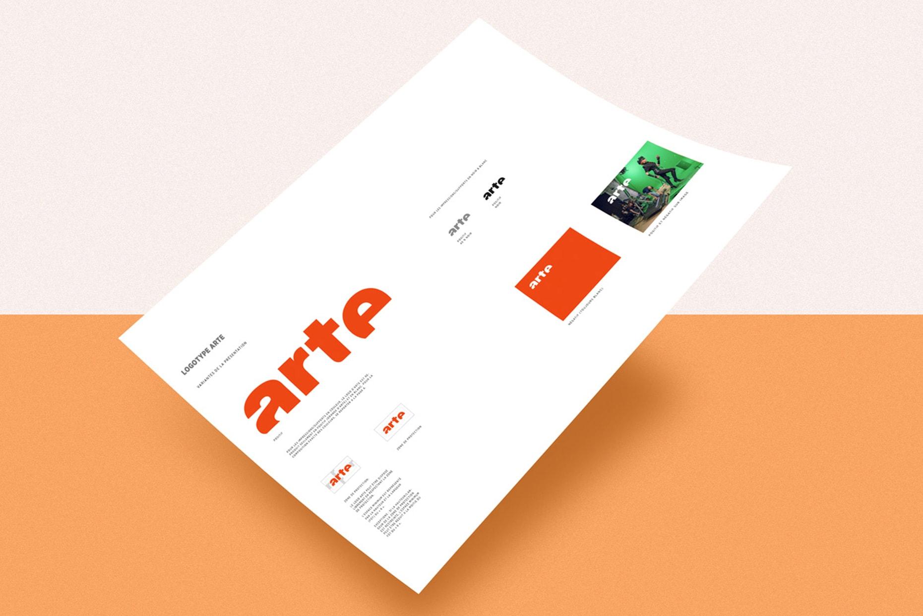Visuel de la charte graphique d'ARTE montrant le logo et ses déclinaisons