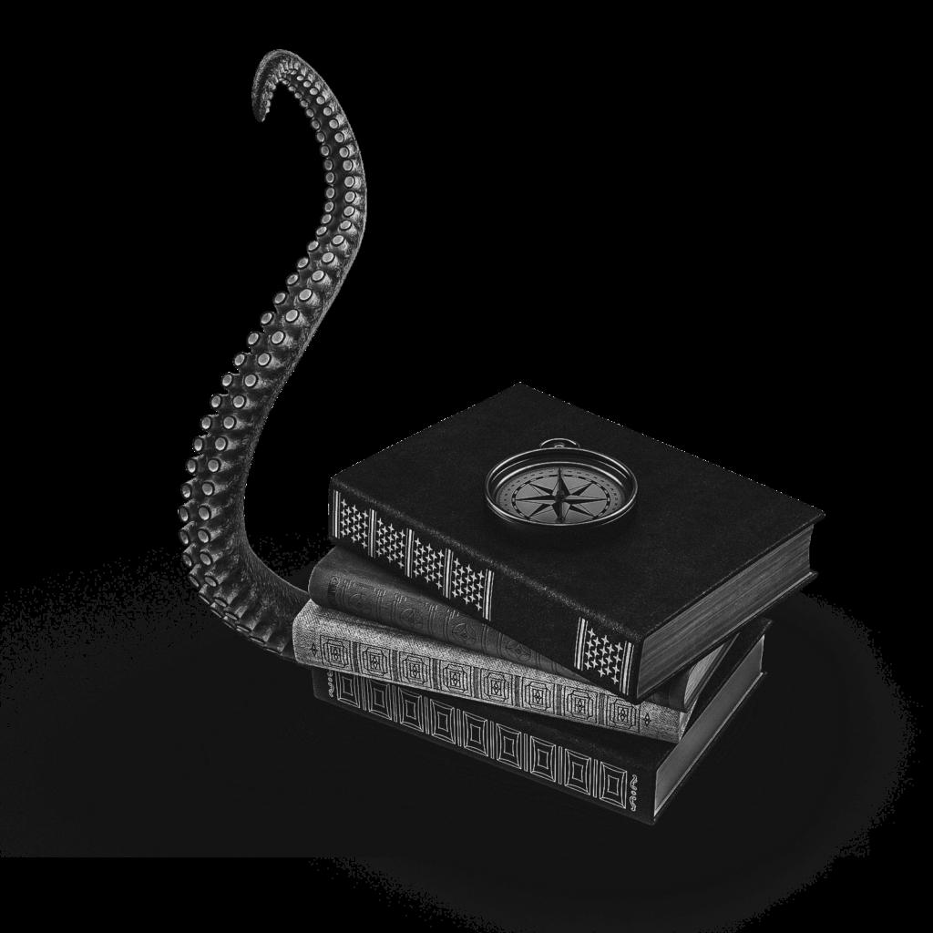 Visuel 3D graphique d'une pile de livres et un compas. Réalisé pour l'article sur le contenu d'une charte graphique, écrit par le Studio Edoras.