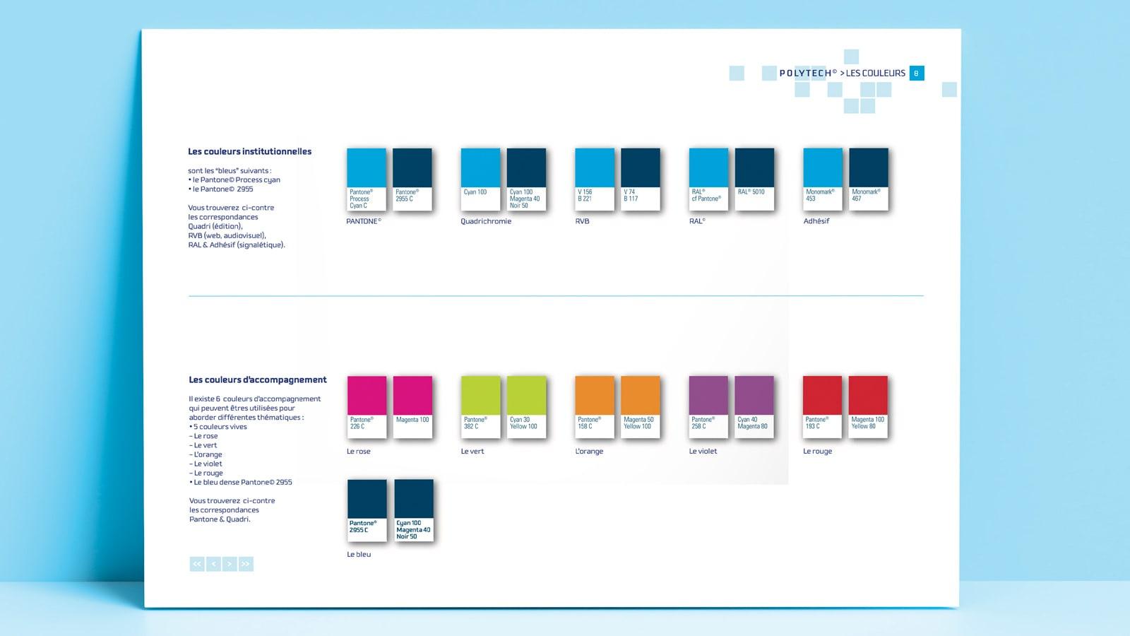 Visuel de la charte graphique de Polytech montrant les déclinaisons de couleurs de l'entreprise avec leurs codes pour le web et l'impression