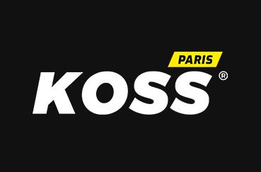 Rebranding : logo sur fond noir des cabinets de kinésithérapie du sport et d'ostéopathie du sport KOSS Sport