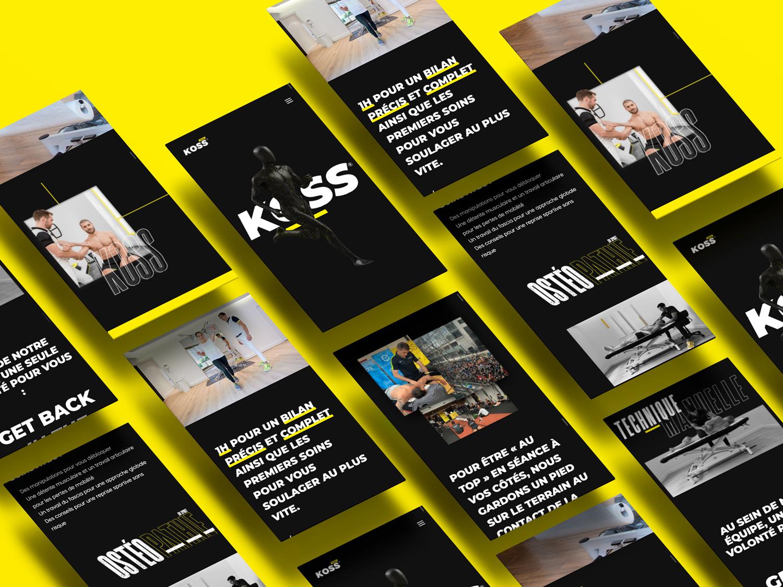 Version mobile du site internet des cabinets KOSS Sport
