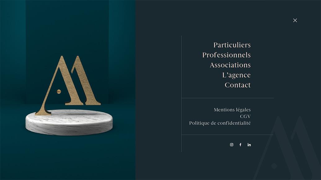 Menu : refonte du site internet de l'agence événementielle Agence Amoren