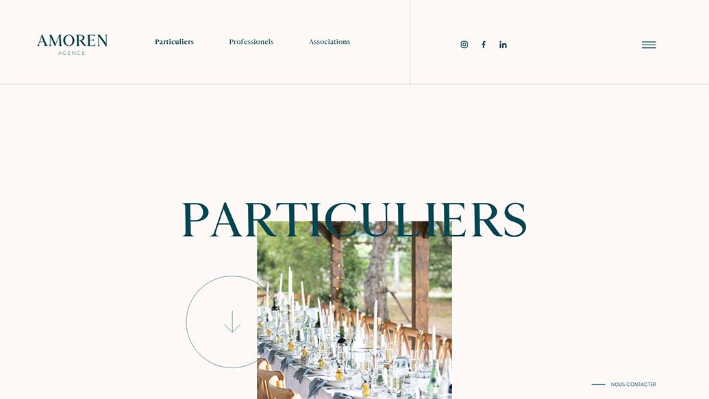 Page particuliers : refonte du site internet de l'agence événementielle Agence Amoren