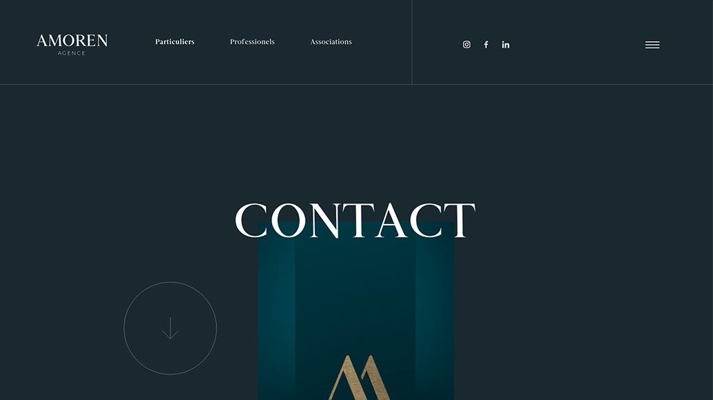 Page contact : refonte du site internet de l'agence événementielle Agence Amoren