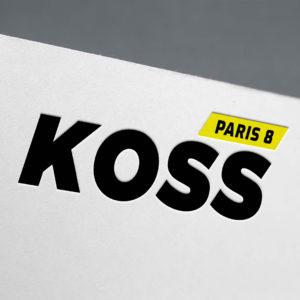 Logo réalisé par une agence de design graphique spécialisée dans la communication d'entreprise et l'identité de marque. Logo réalisée par le Studio Edoras pour les cabinets de kiné KOSS