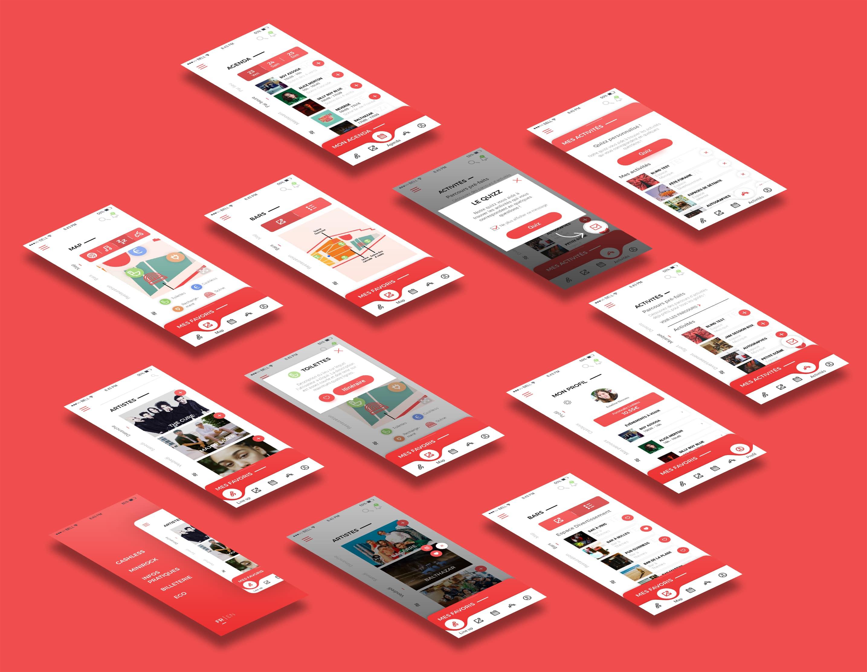 Maquettes UI Design réalisées par une UI Designer pour une application mobile.