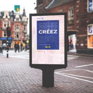 Les différents types d'affichage : image d'une campagne d'affichage réalisée par une agence de communication pour un message publicitaire. Communication d'entreprise affichage urbain.