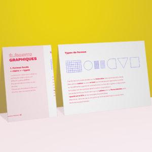 L'agence de communication et de création graphique réalise des chartes graphiques pour les entreprise. Il s'agit des règles d'utilisation des formes de la charte graphique