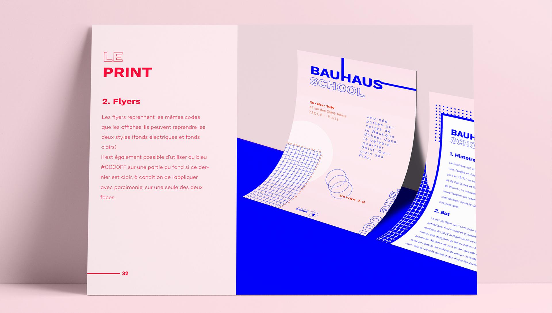 Mise en pages d'une charte graphique d'entreprise mettant en scène les règles de création de supports de communication imprimés.